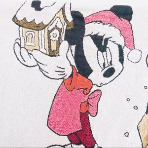 VINTAGE DISNEY Mickey Mouse Woven Holiday Blanket